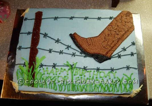Excellent Barbed Wire And Cowboy Boot Birthday Cake Funny Birthday Cards Online Inifodamsfinfo