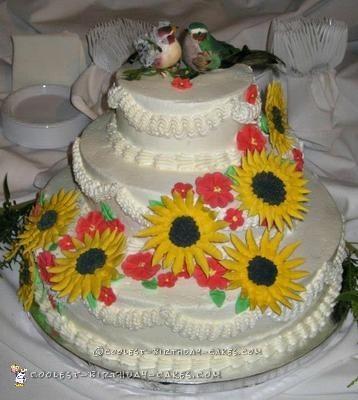 Coolest Sunflower Wedding Cake
