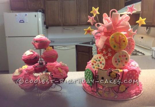 4th Birthday Hello Kitty Cake and Cupcakes
