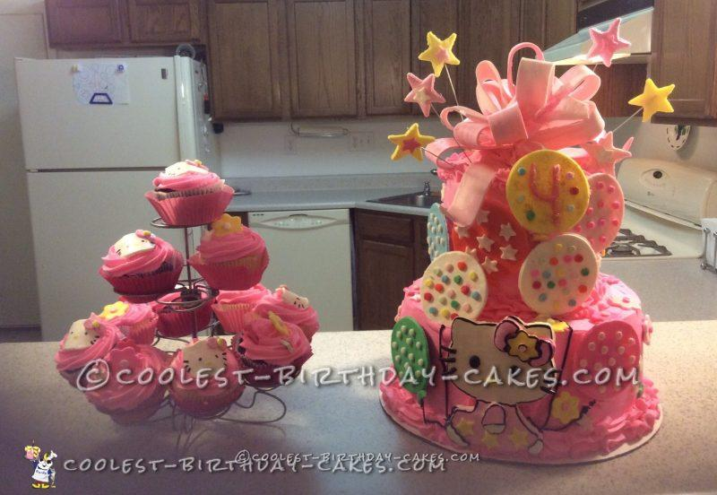 4th Birthday Hello Kitty Cake and Cupcakes