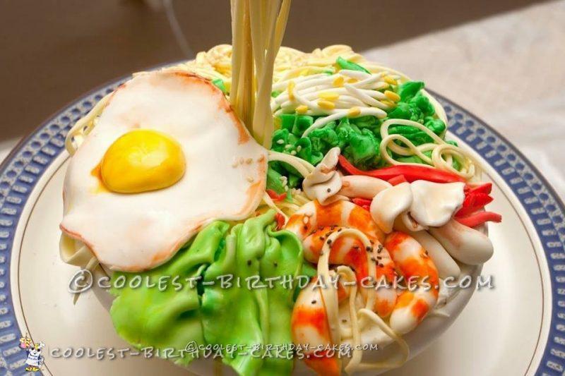 Gravity Defying Thai Noodle Bowl Cake