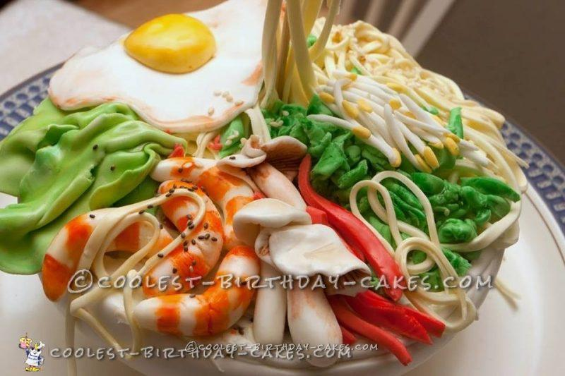 Gravity Defying Thai Noodle Bowl Cake