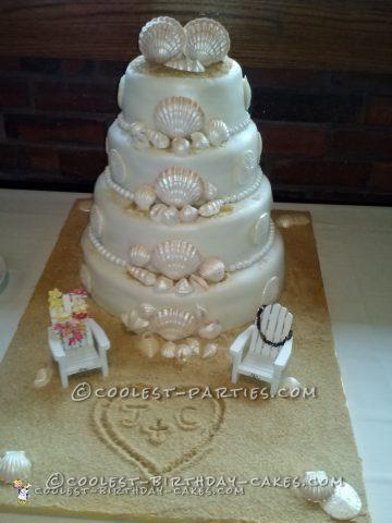 Cool Beach Themed Wedding Cake
