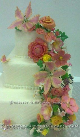 Cool Floral Wedding Cake