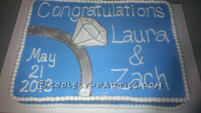 Cute Homemade Engagement Cake