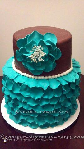 Cool Rose Petal Bridal Shower Cake