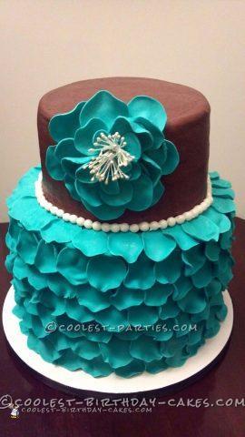 Cool Rose Petal Bridal Shower Cake
