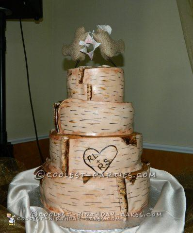 Homemade Birch Bark Wedding Cake