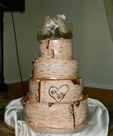 Homemade Birch Bark Wedding Cake