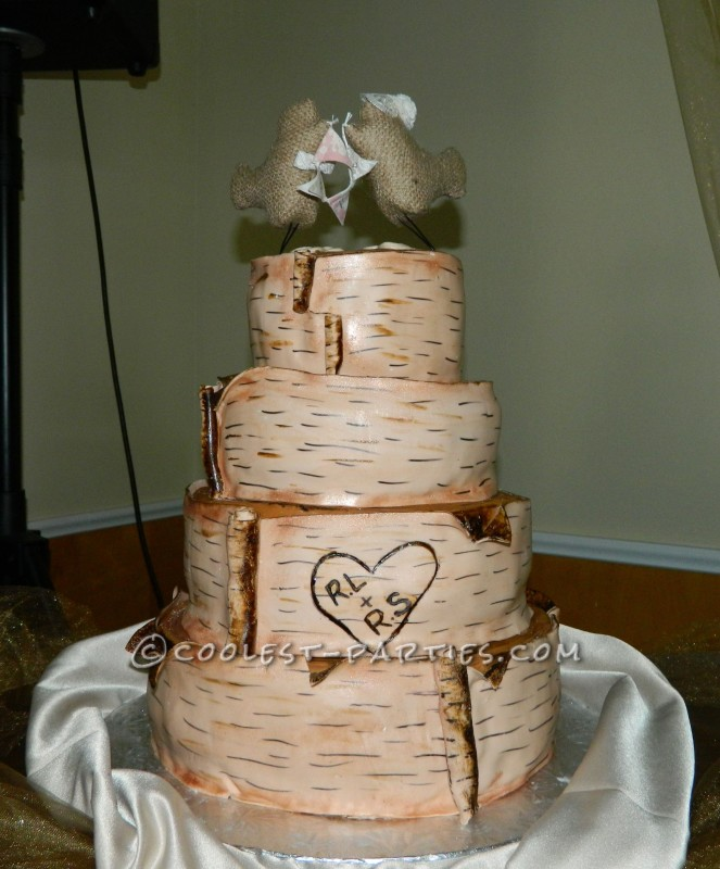 Homemade Wedding Cake Decoration Ideas : Homemade Birch Bark Wedding Cake