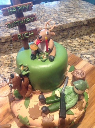 Cool Hunter Gets A Surprise Deer Hunting Cake Personalised Birthday Cards Veneteletsinfo