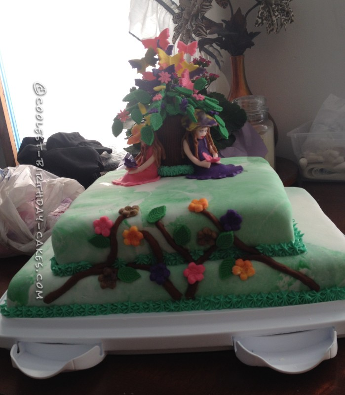 Pretty Butterfly Cake for Twin Girls