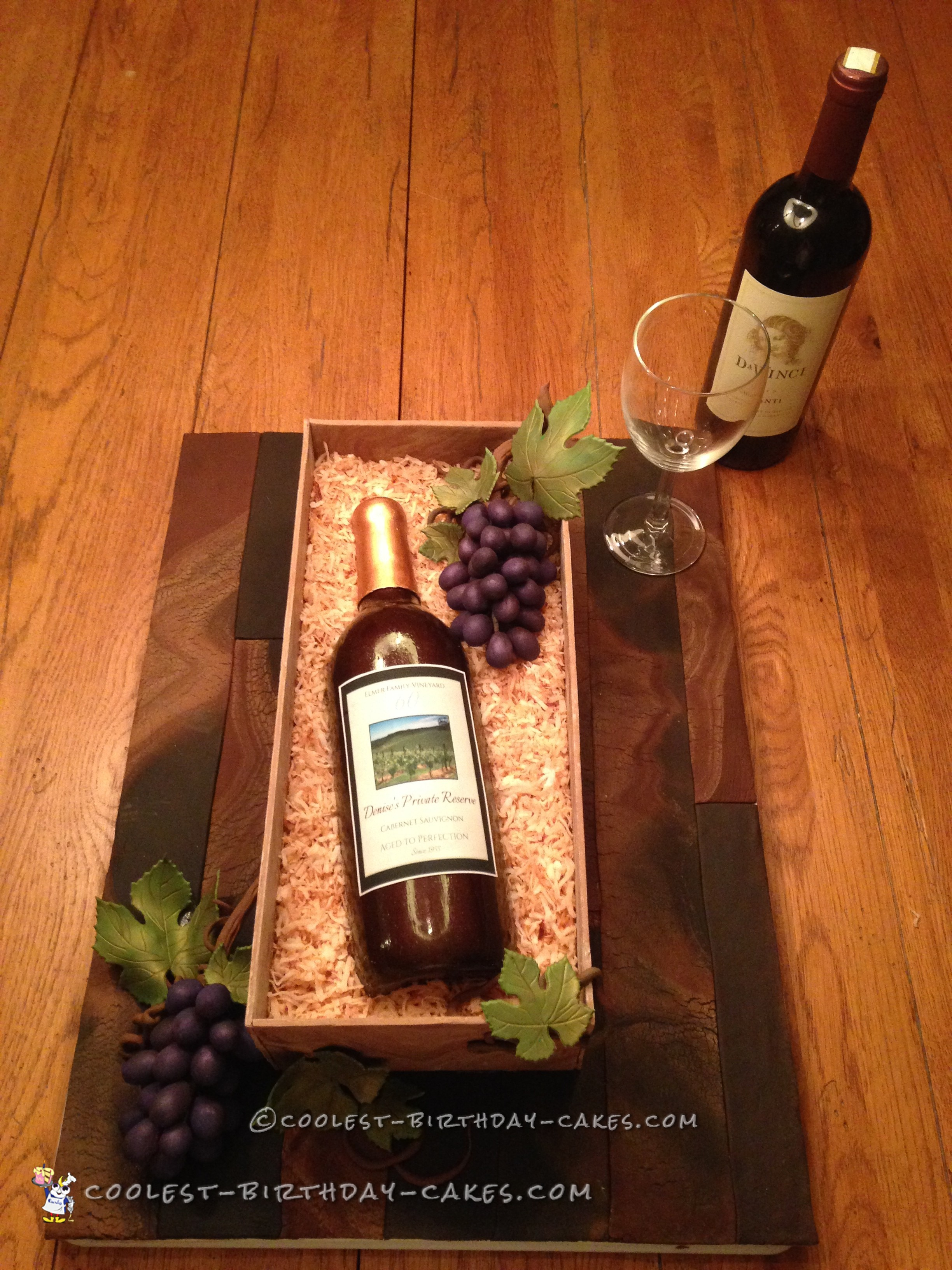 Amazing Wine Bottle Cake For Moms 60th Birthday