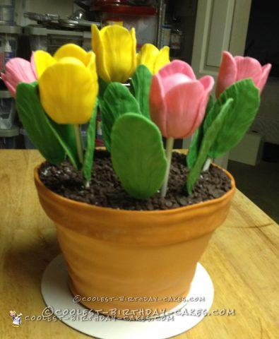 Coolest Tulips in a Flower Pot Cake
