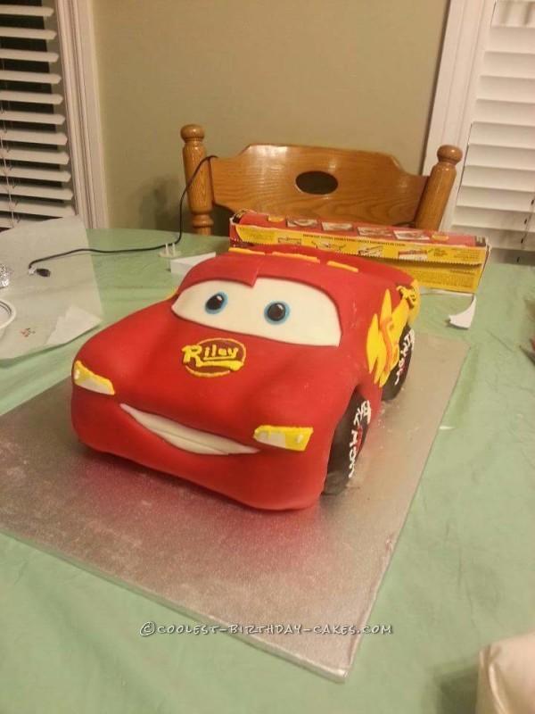 Coolest Homemade Lightning McQueen Birthday Cake