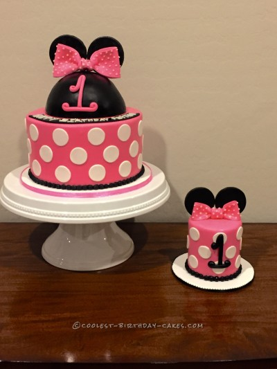 Groovy Minnie Mouse Birthday Cake With Matching Minnie Smash Cake Funny Birthday Cards Online Overcheapnameinfo