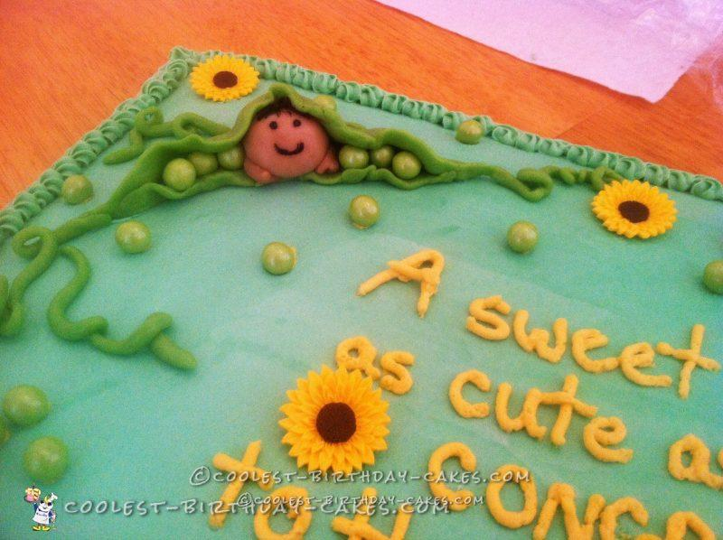 Cute Sweet Pea Baby Shower Cake