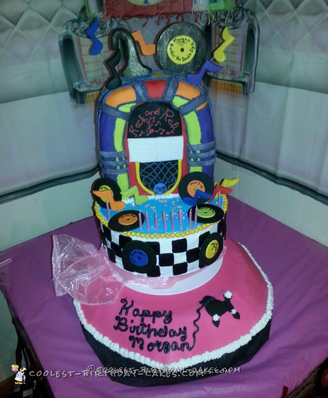 Coolest 50s Theme 10th Birthday Cake