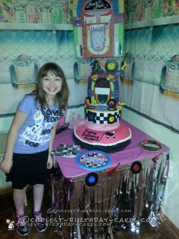 Coolest 50s Theme 10th Birthday Cake