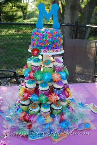 Cool Luau Themed Cupcake Tower and Cake