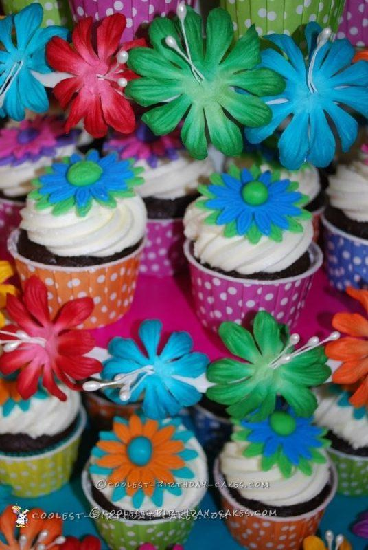 Cool Luau Themed Cupcake Tower and Cake