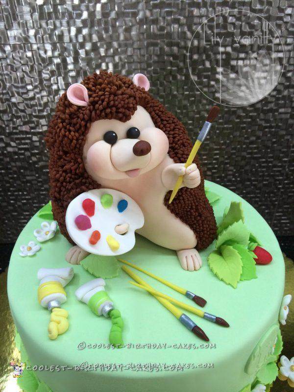 Coolest Painter Hedgehog Birthday Cake