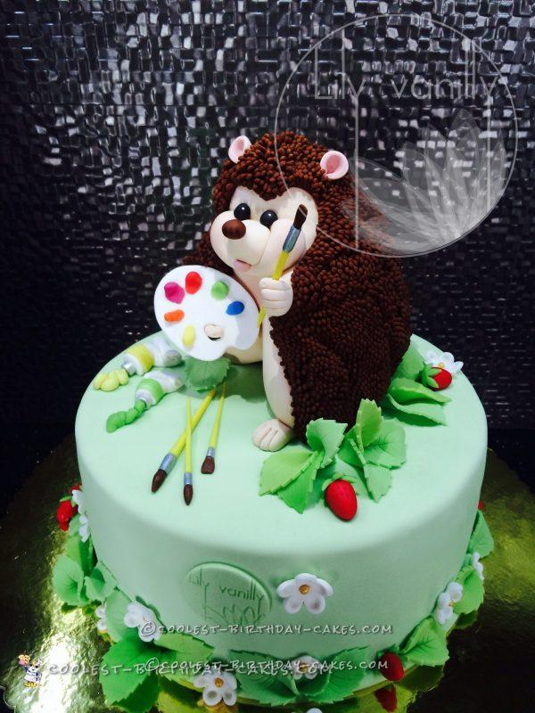 Coolest Painter Hedgehog Birthday Cake
