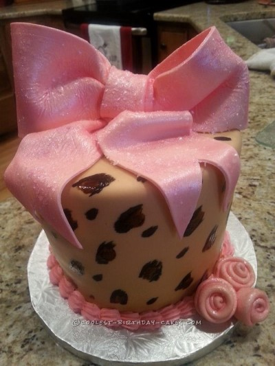 Pink and Brown Leopard Print Cake