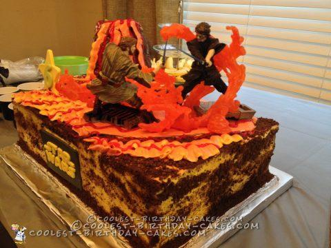 Mustafar Star Wars Battle Scene Cake