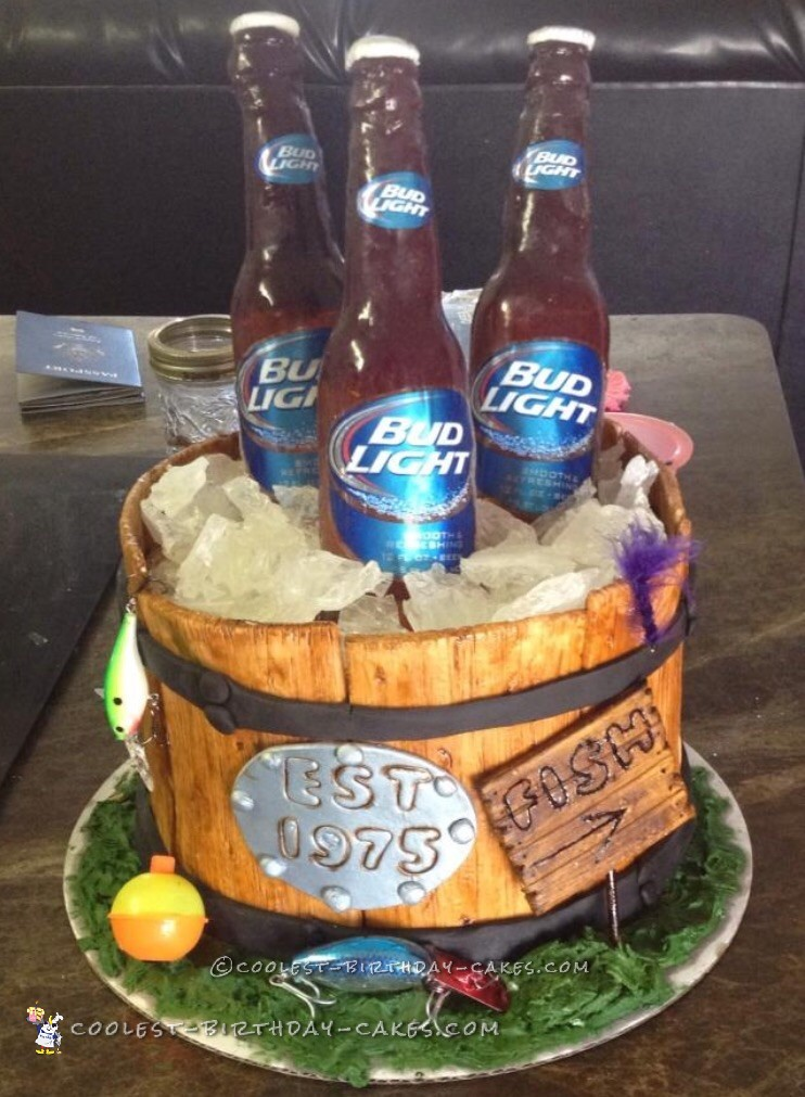 Everything Included In This Wooden Bucket Cake Is Edible Except For The Tackle And Beer Bottle Labels Bottles Require Some Time To Make So
