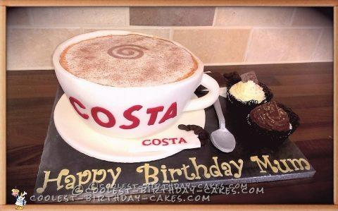 Pleasing Costa Coffee Cup Cake Funny Birthday Cards Online Elaedamsfinfo