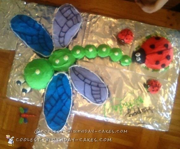 Ladybug and Dragonfly Cake