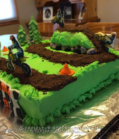 Excellent Lets Ride Dirt Bike Track Cake Funny Birthday Cards Online Overcheapnameinfo