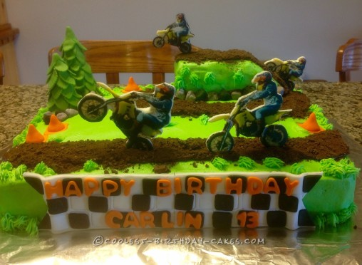 Groovy Lets Ride Dirt Bike Track Cake Funny Birthday Cards Online Overcheapnameinfo