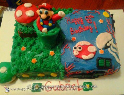 Land/Water Mario Themed Cake