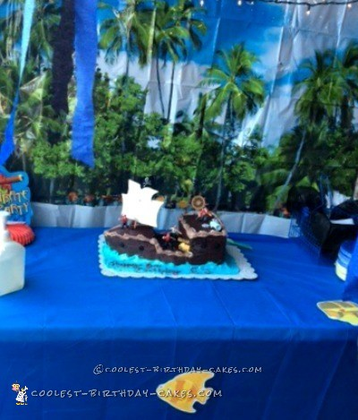 Ahoy Mateys Pirate Ship Birthday Cake