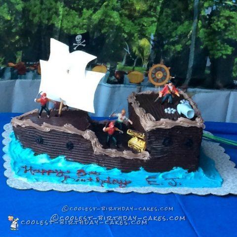 Ahoy Mateys Pirate Ship Birthday Cake