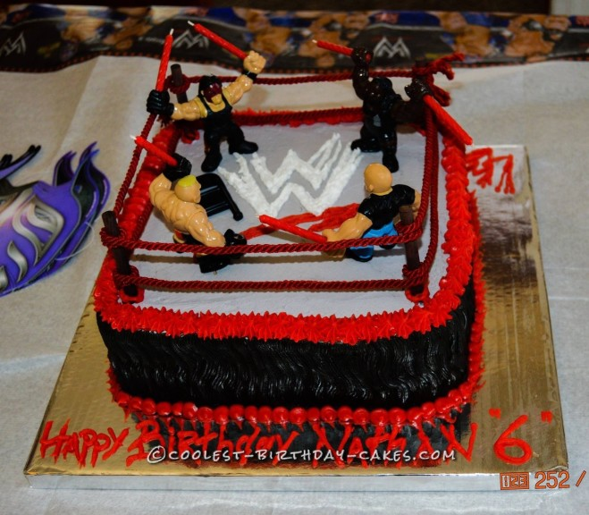 Super Nathans Wwe Wrestling Ring Cake Personalised Birthday Cards Beptaeletsinfo