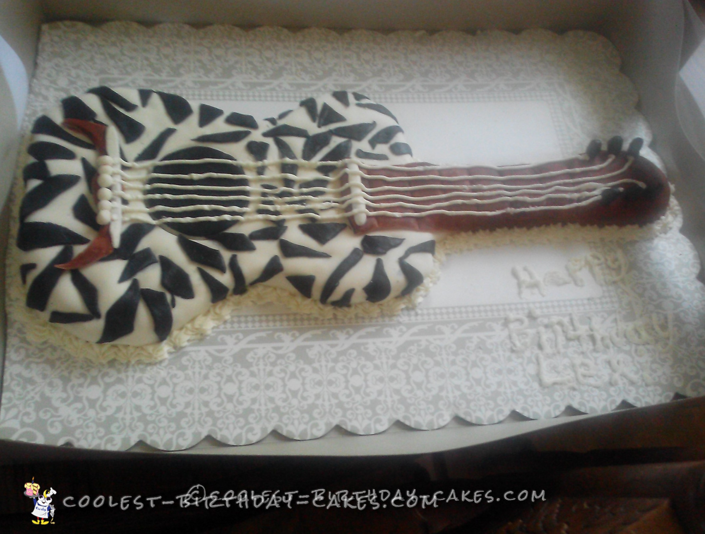 Zebra Print Guitar Birthday Cake