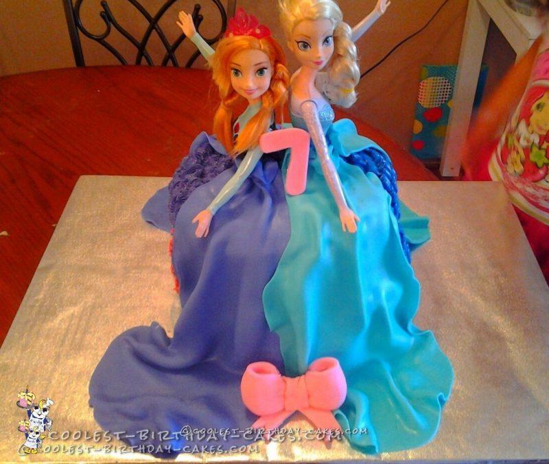 Dual Dress Anna and Elsa Frozen Cake