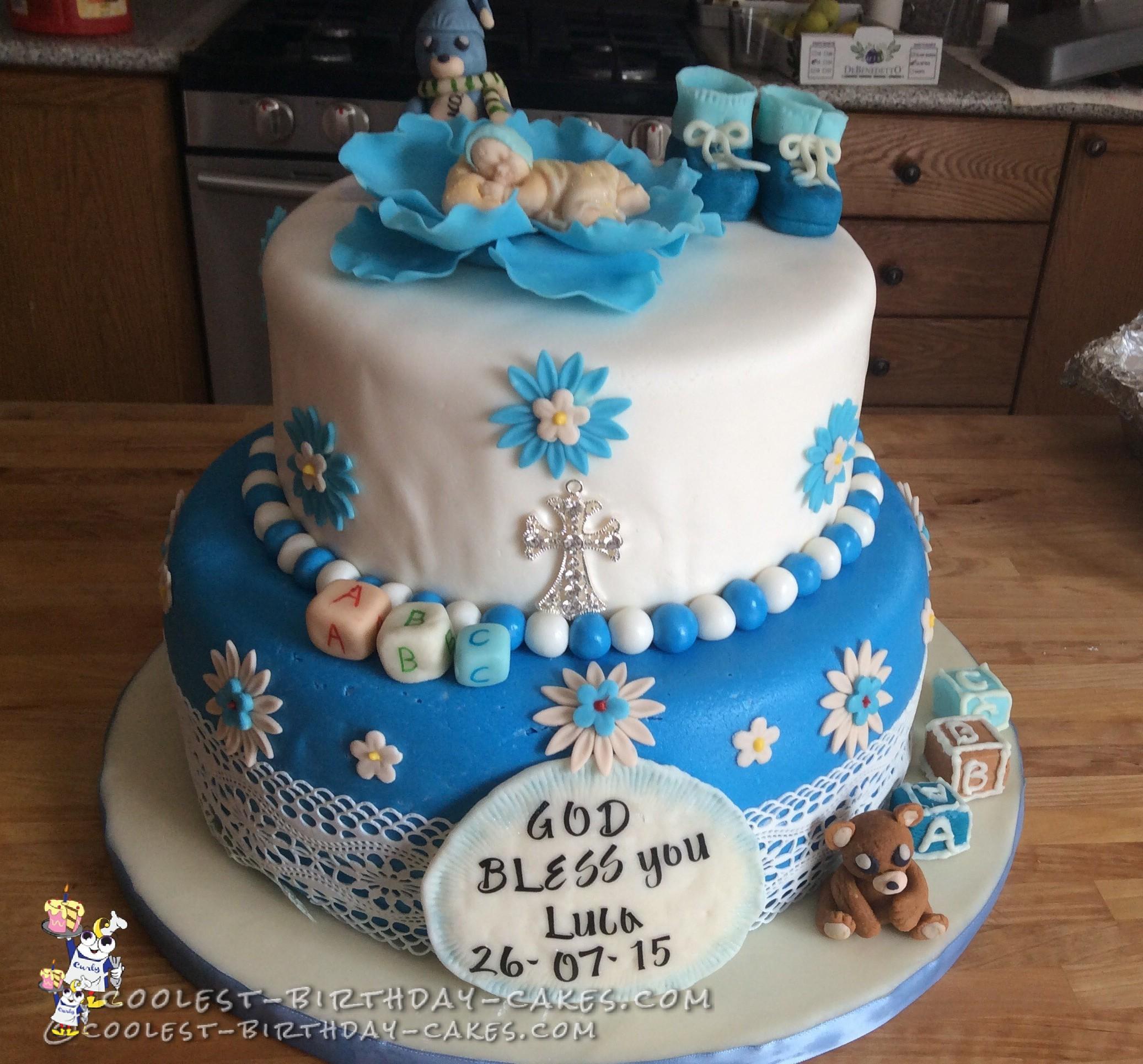 Sweetest Baby Boy Christening Cake