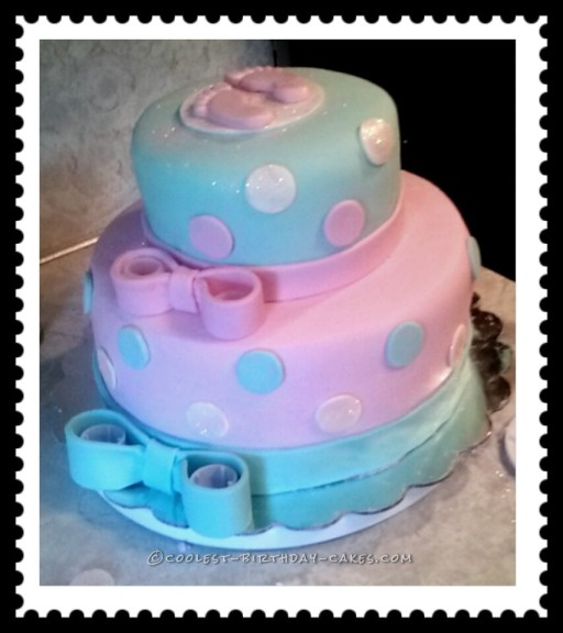 Coolest Aqua and Pink Girl Baby Shower Cake