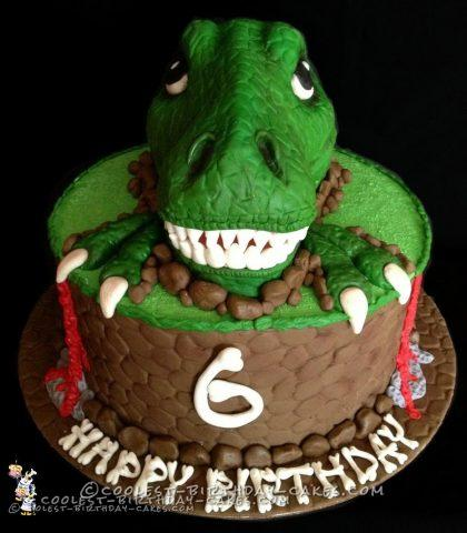 Awesome T-Rex Dinosaur Birthday Cake