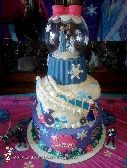 6th Birthday Frozen Snow Globe Cake