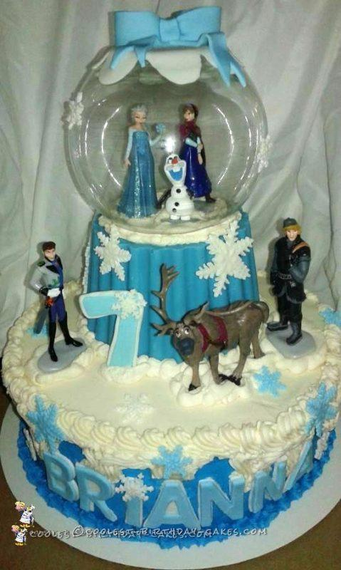 7th Birthday Frozen Snow Globe Cake