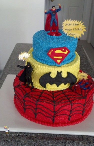 Fabulous Cool 3 Tier Superhero Birthday Cake Personalised Birthday Cards Rectzonderlifede