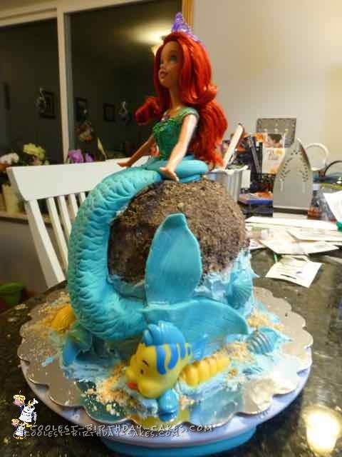Beautiful Homemade Ariel And Friends Little Mermaid Cake