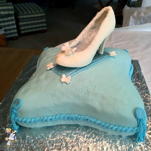 Glass Slipper on a Pillow Cake