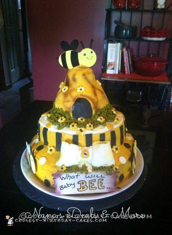 Bee Theme Gender Reveal Cake
