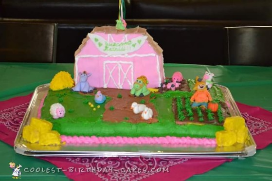Barnyard Theme Girl Baby Shower Cake